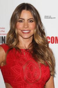 Sofia Vergara braless red dress